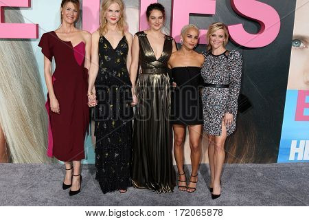 LOS ANGELES - FEB 7:  Laura Dern, Nicole Kidman, Shailene Woodley, Zoe Kravitz, Reese Witherspoon at the