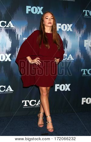 LOS ANGELES - JAN 11:  Holly Taylor at the FOXTV TCA Winter 2017 All-Star Party at Langham Hotel on January 11, 2017 in Pasadena, CA