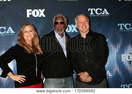 LOS ANGELES - JAN 11:  Lori McCreary, Morgan Freeman, James Younger at the FOXTV TCA Winter 2017 All-Star Party at Langham Hotel on January 11, 2017 in Pasadena, CA
