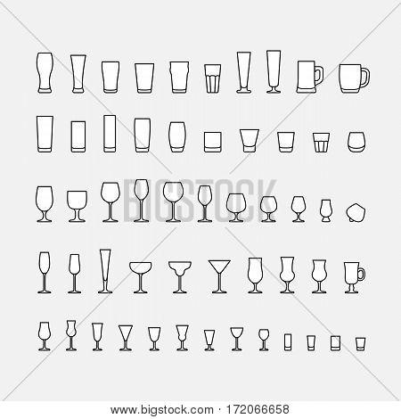 Bar glassware line icons set, vector illustration.
