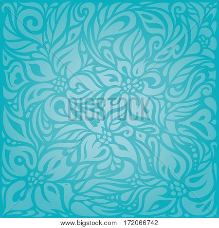 Turquoise  floral holiday vector vintage background design