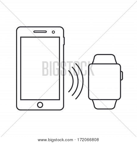 Smartphone and smartwatch outline icon vector gadgets with blank display.