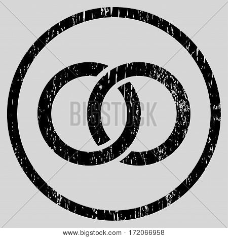 Wedding Rings grainy textured icon for overlay watermark stamps. Rounded flat vector symbol with dirty texture. Circled black ink rubber seal stamp with grunge design on a light gray background.