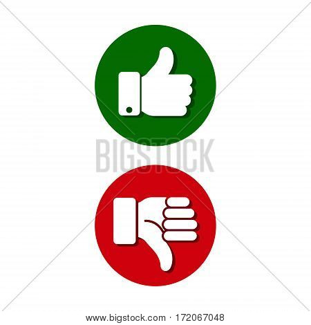 Thumb up thumb down green and red sillouettes. Vector evaluation circle symbol.