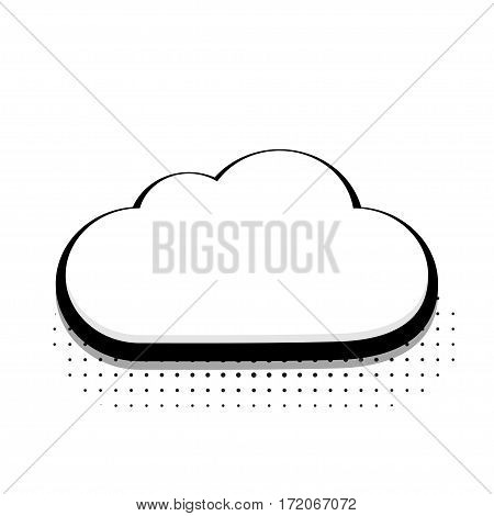 Vector modern halftone cloud icon on white background