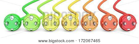 saving energy consumption concept row from colored plugs. 3D rendering isolated on white background