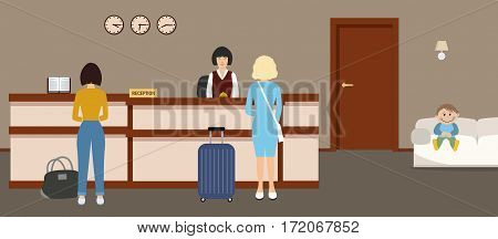 Hotel reception. Young woman receptionist stands at reception desk, in the lobby are also visitors. Travel, hospitality, hotel booking concept. Vector illustration