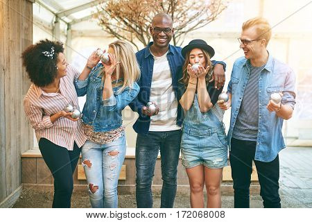 Young People In Petanque Game Center