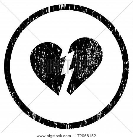 Broken Heart grainy textured icon for overlay watermark stamps. Rounded flat vector symbol with scratched texture. Circled black ink rubber seal stamp with grunge design on a white background.