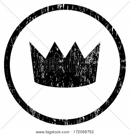 Crown grainy textured icon for overlay watermark stamps. Rounded flat vector symbol with dirty texture. Circled black ink rubber seal stamp with grunge design on a white background.