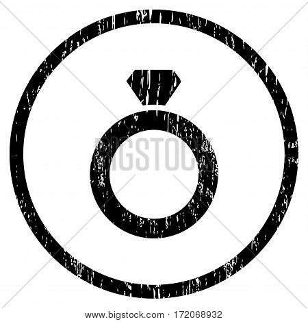 Diamond Ring grainy textured icon for overlay watermark stamps. Rounded flat vector symbol with scratched texture. Circled black ink rubber seal stamp with grunge design on a white background.