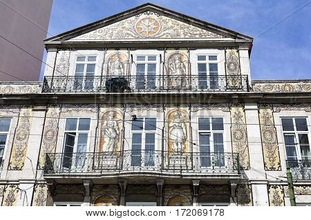 LISBON, PORTUGAL - September 26, 2016: Detail of the decorative tiles on the facade of a famous restaurant in Lisbon Portugal