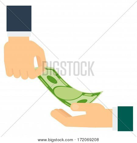 Hand holds the plate need money. Concept of poverty bankruptcy crisis and collapse. Flat vector cartoon illustration. Objects isolated on a white background.