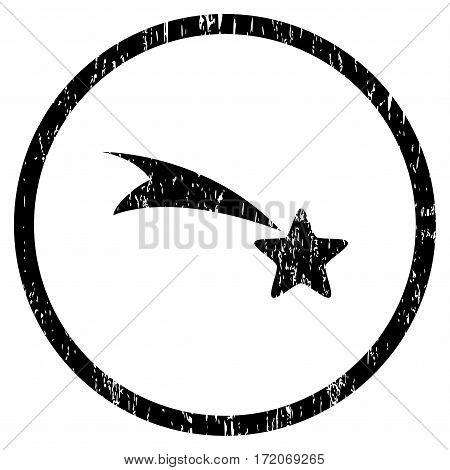 Falling Star grainy textured icon for overlay watermark stamps. Rounded flat vector symbol with dust texture. Circled black ink rubber seal stamp with grunge design on a white background.