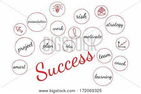 Word success red color on a white background. Isolated success text with other busines words.