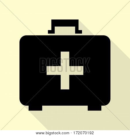Medical First aid box sign. Black icon with flat style shadow path on cream background.
