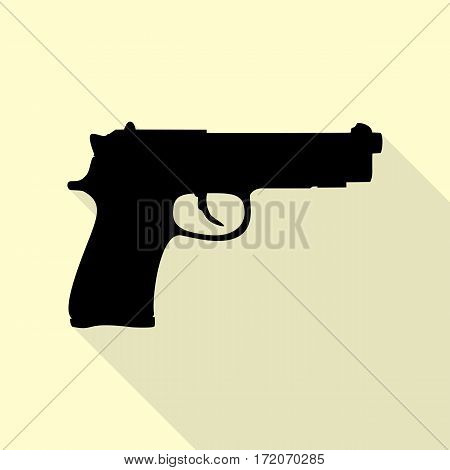 Gun sign illustration. Black icon with flat style shadow path on cream background.