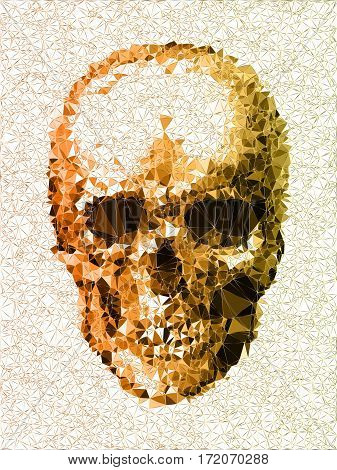 Vector Skull. Disco Diamond Head. Colorful. Mood Skull. Triangles Gold And Green. Disgusted Face. De