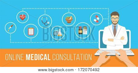 Health care online consultation flat conceptual banner. Medical assistance by internet. Male doctor consultant gives information about medicines. Patient uses computer for online diagnostics