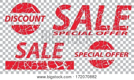 Sale special offers discounts on grunge. Red a transparent background. Vector illustration.