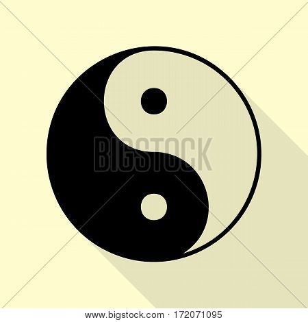 Ying yang symbol of harmony and balance. Black icon with flat style shadow path on cream background.
