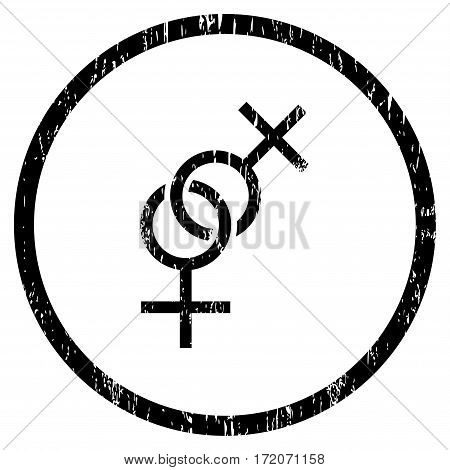 Lesbian Love Symbol grainy textured icon for overlay watermark stamps. Rounded flat vector symbol with scratched texture. Circled black ink rubber seal stamp with grunge design on a white background.
