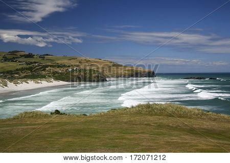 Shoreline facing south at Dunedin, New Zealand.