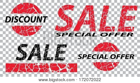 Sale special offers discounts on grunge. Red and black a transparent background. Vector illustration.