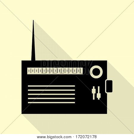 Radio sign illustration. Black icon with flat style shadow path on cream background.