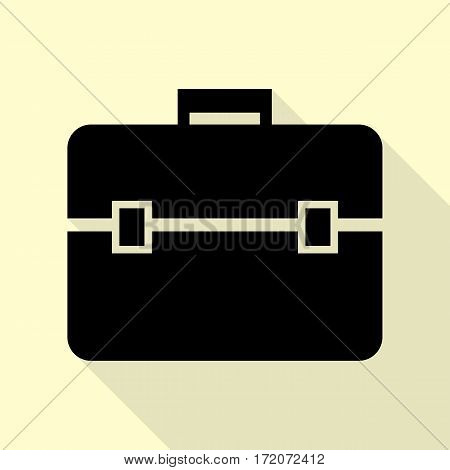Briefcase sign illustration. Black icon with flat style shadow path on cream background.