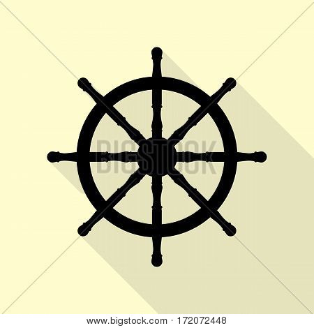 Ship wheel sign. Black icon with flat style shadow path on cream background.