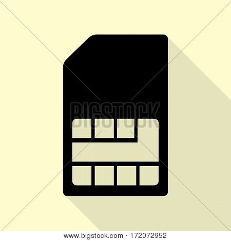 Sim card sign. Black icon with flat style shadow path on cream background.