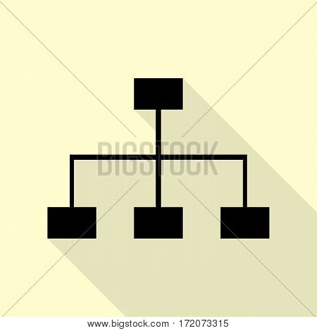 Site map sign. Black icon with flat style shadow path on cream background.