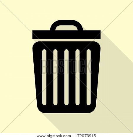 Trash sign illustration. Black icon with flat style shadow path on cream background.