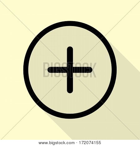 Positive symbol plus sign. Black icon with flat style shadow path on cream background.