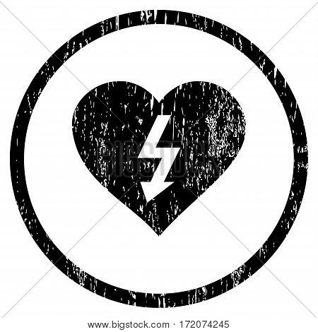 Power Love Heart grainy textured icon for overlay watermark stamps. Rounded flat vector symbol with unclean texture. Circled black ink rubber seal stamp with grunge design on a white background.