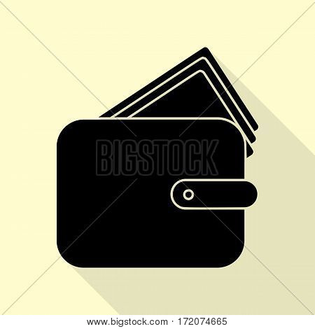 Wallet sign illustration. Black icon with flat style shadow path on cream background.