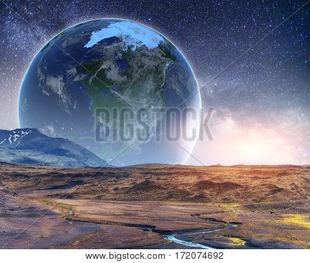 Realistic 3D Earth Lyustration. Courtesy of NASA. Fantastic starry sky and the milky way
