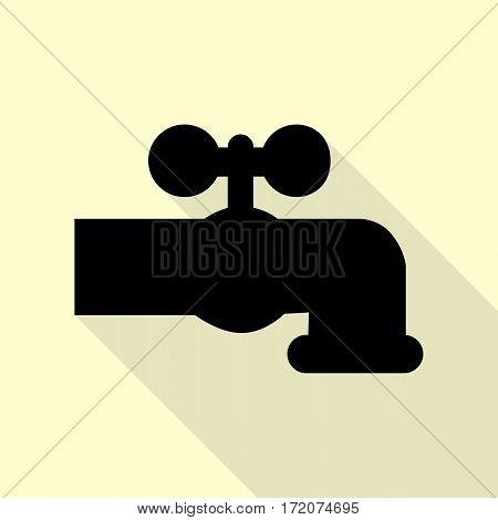 Water faucet sign illustration. Black icon with flat style shadow path on cream background.