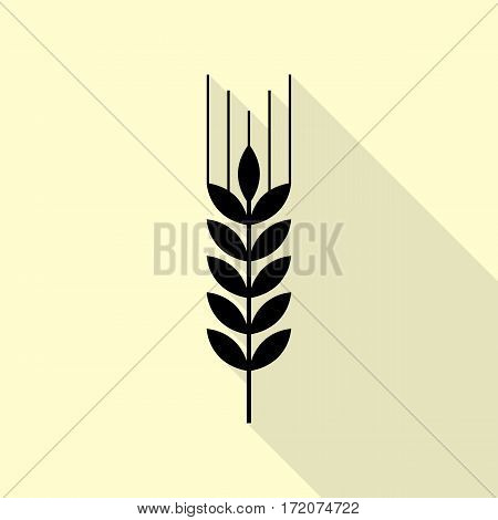 Wheat sign illustration. Black icon with flat style shadow path on cream background.