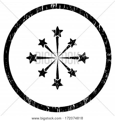 Star Burst Fireworks grainy textured icon for overlay watermark stamps. Rounded flat vector symbol with dust texture. Circled black ink rubber seal stamp with grunge design on a white background.