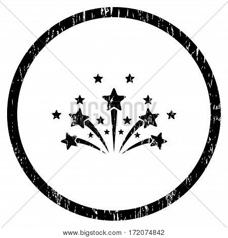 Star Fireworks grainy textured icon for overlay watermark stamps. Rounded flat vector symbol with unclean texture. Circled black ink rubber seal stamp with grunge design on a white background.