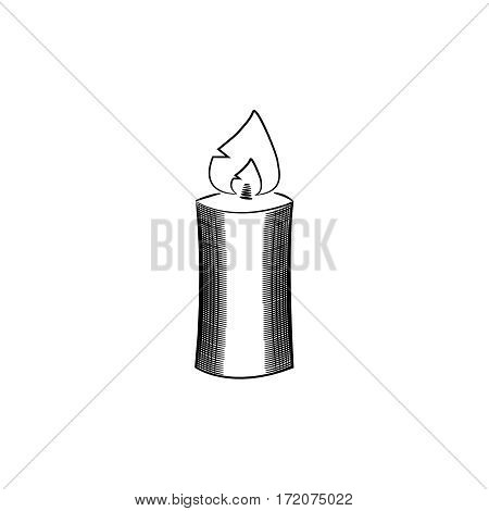 Burning candle icon. Gray monochrome illustration of burning candle vector icon for web