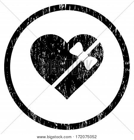 Tied Love Heart grainy textured icon for overlay watermark stamps. Rounded flat vector symbol with dirty texture. Circled black ink rubber seal stamp with grunge design on a white background.