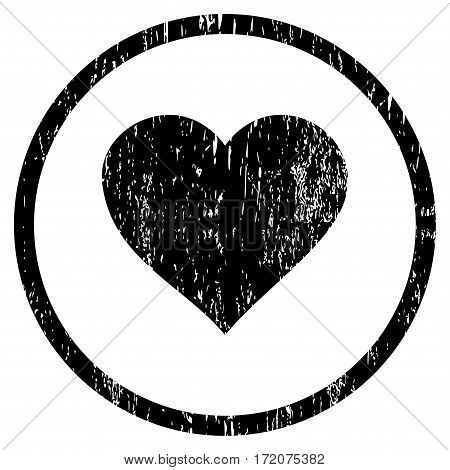 Valentine Heart grainy textured icon for overlay watermark stamps. Rounded flat vector symbol with unclean texture. Circled black ink rubber seal stamp with grunge design on a white background.