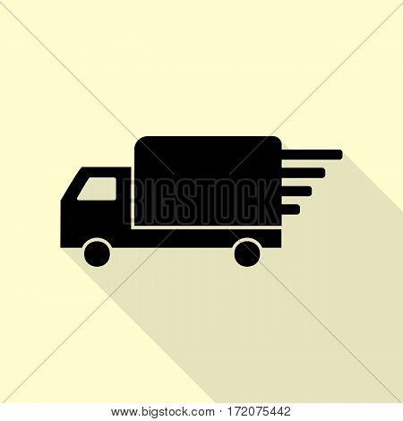 Delivery sign illustration. Black icon with flat style shadow path on cream background.