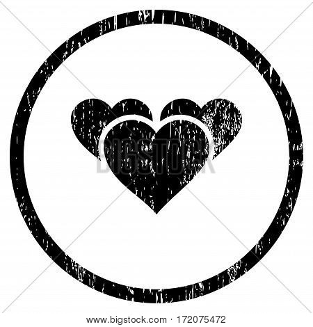 Valentine Hearts grainy textured icon for overlay watermark stamps. Rounded flat vector symbol with dirty texture. Circled black ink rubber seal stamp with grunge design on a white background.