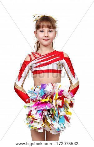 Cheerleading Girl Standing With Pom
