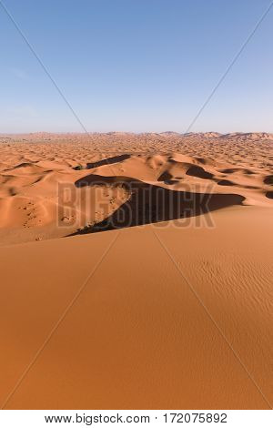 Awesome view from one of the highest dunes in the Sahara Erg Chebbi near Merzouga, Morocco.