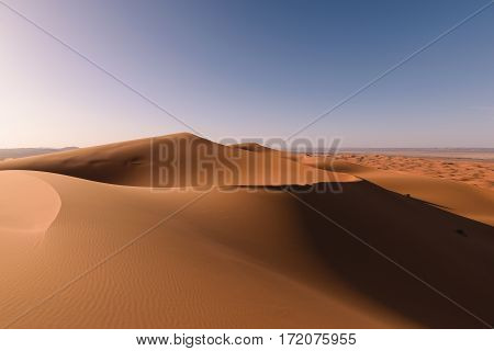Awesome view over the highest dunes in the Sahara Erg Chebbi near Merzouga, Morocco.